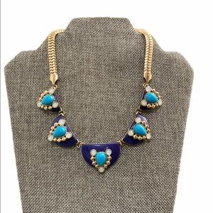 Navy and turquoise necklace